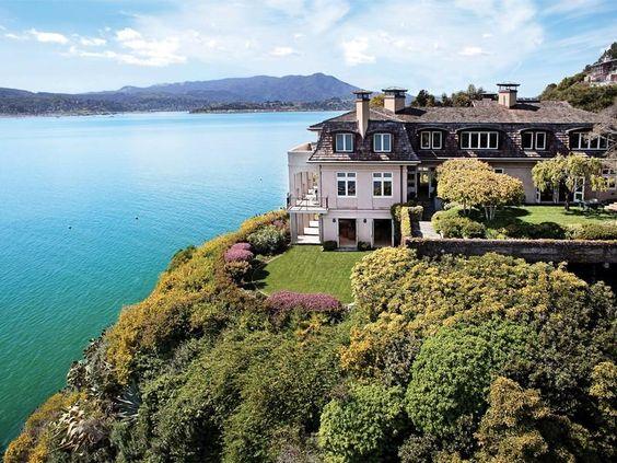 Designed by Warren Callister on Belvedere Island, this stunning California home has views of the Golden Gate Bridge.