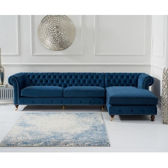 Nesta Chesterfield Right Corner Sofa In Blue Velvet Leather Sofa Living Room Corner Sofa Living Room Corner Sofa