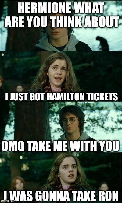 Hamilton Tickets Harry And Hermione Hamilton Funny Book Humor Hamilton Memes