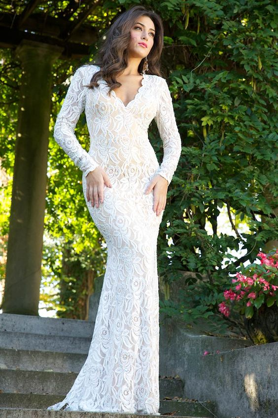 White Lace Dresses With Sleeves