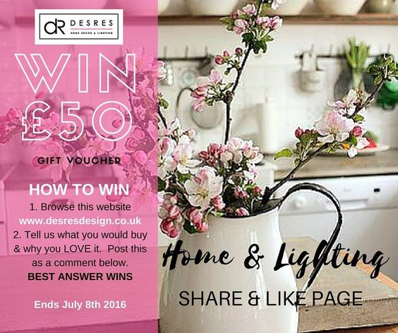 win £50 voucher - go to our FB page to enter https://www.facebook.com/DesResDesignUK/