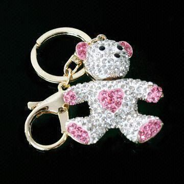 Fancy Bear Keychain, Made of Zinc-alloy with Rhinestones, Small and OEM Orders are Welcome