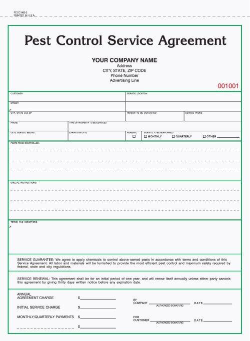 2 Part Pest Control Service Agreement Forms Pest Control