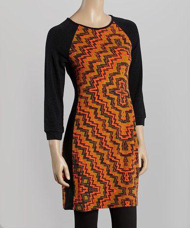 Loving this Rust & Black Zigzag Raglan Sweater Dress on #zulily! #zulilyfinds