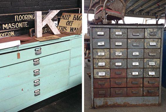 Vintage plan drawers and industrial cabinet, Vintage Trader, Geelong North