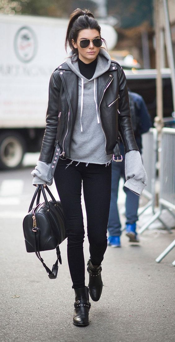 So loving the Paige jeans, Saint Laurent leather jacket, and sweatshirt Kendall Jenner wore to this year's Victoria's Secret show - click for more off-duty model street style pics