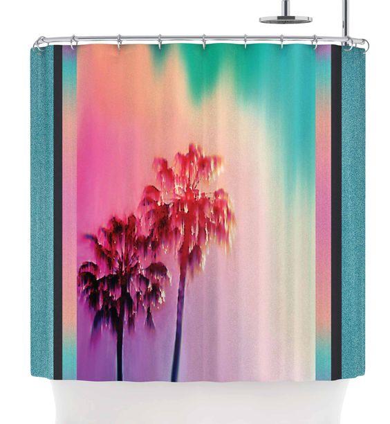 "Kess InHouse Nina May ""LA Rainbow"" Pink Blue Shower Curtain, 69 by 70"""