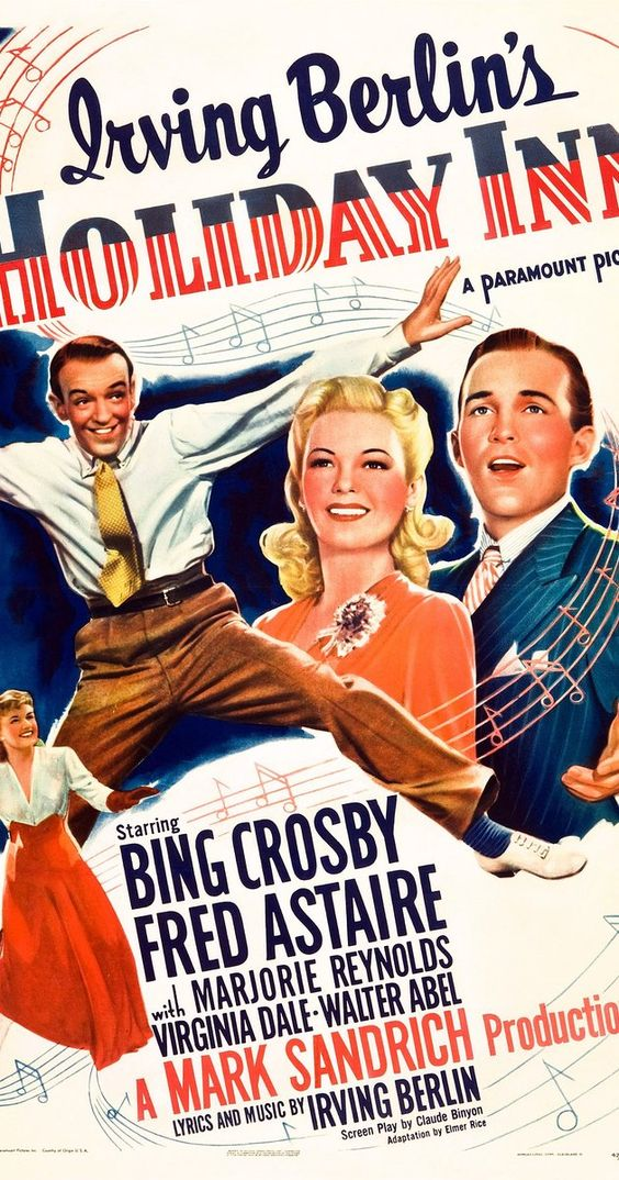 Directed by Mark Sandrich.  With Bing Crosby, Fred Astaire, Marjorie Reynolds, Virginia Dale. At an inn which is only open on holidays, a crooner and a hoofer vie for the affections of a beautiful up-and-coming performer.
