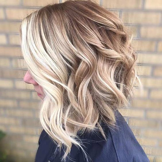 31 Cool Balayage Ideas for Short Hair. Curly Bronde Bob Hairstyle with Front Blonde Balayage Highlights