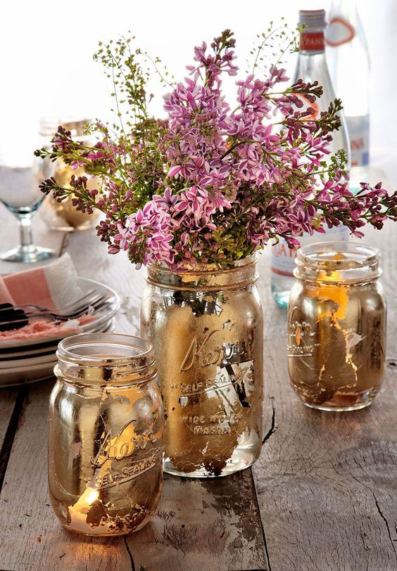 mason jar crafts, mason jar ideas, guilded mason jars