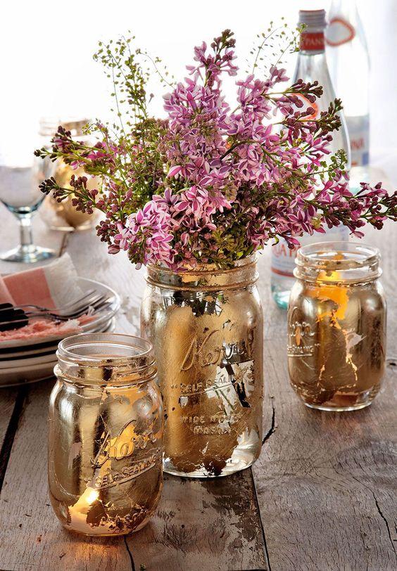 mason jar crafts, mason jar ideas, guilded mason jars