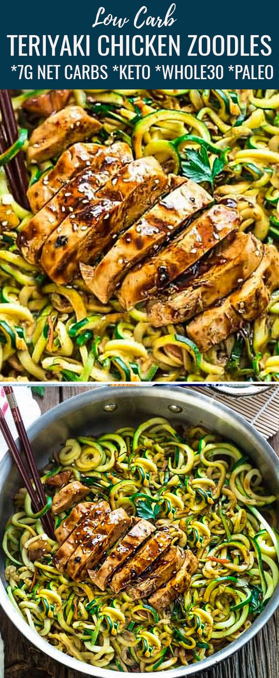 Low Carb Zucchini Noodles with Teriyaki Chicken