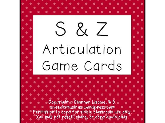 Speechy Musings: Articulation Deck of Cards for S & Z. Pinned by SOS Inc. Resources. Follow all our boards at pinterest.com/sostherapy for therapy resources.