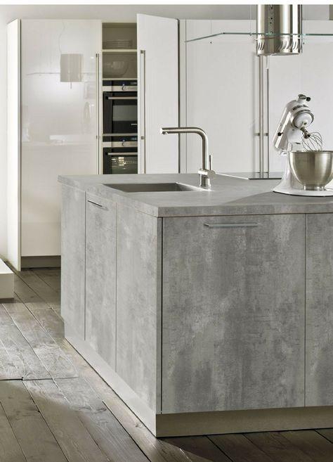 Beton Ciré Günstige Arbeitsplatte in Beton-Optik Haus - küchen weiß hochglanz