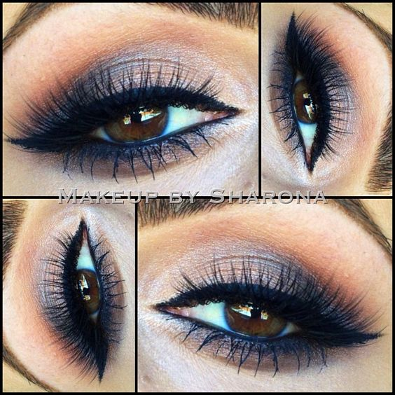 #nude #makeup with hints of dark navy #blue. shimmery cream to charcoal grey on the lid, warm brown above crease, winged liner. @Sharona Usher