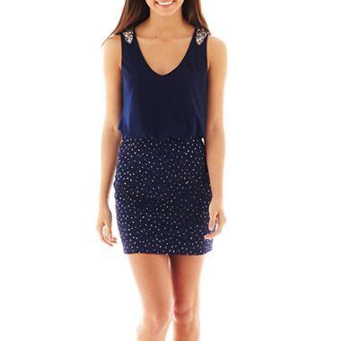 My Michelle® Embel Shoulder Lace Bottom 2Fer Dress - JCPenney