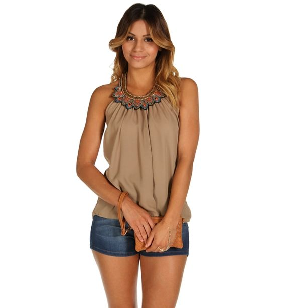 Taupe Scoop Neck Tank Top at WindsorStore