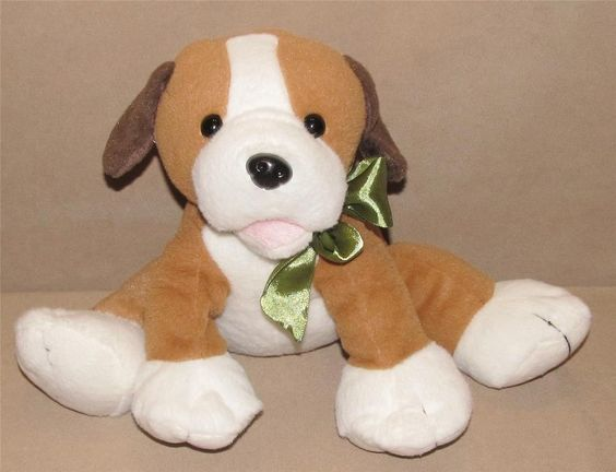 Animal Adventure Brown Tan White Puppy Dog Plush Toy Green Bow Open Mouth L5104 #AnimalAdventure