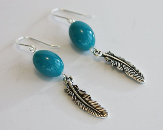 #Turquoise Lampwork beaded #Earrings / French Wire / Handmade Earrings / Fashion Jewelry/ #Aqua/ #Antique #Silver #feather #handmade #thecraftstar $15.00