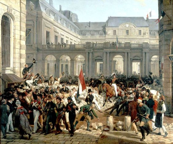 """""""Louis-Philippe Going from the Palais Royal to the Hôtel de Ville"""" (Horace Vernet, 1832, oil on canvas). In the Château de Versailles. The culmination of the French """"July Revolution"""" of 1830, in which King Charles X and the senior branch of the House of Bourbon were deposed. The exceedingly clever and interestingly devious man on horseback in the center, Charles X's cousin the Duke of Orleans, is on his way to be proclaimed King Louis-Philippe I."""