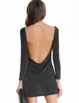 Backless Bodycon Black Dress