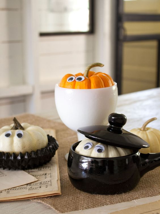 Halloween decorating ideas: use miniature gourds and a variety of inexpensive bowls and dishes to make peekaboo pumpkins.