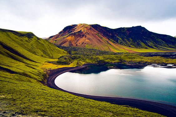 hill lake in iceland