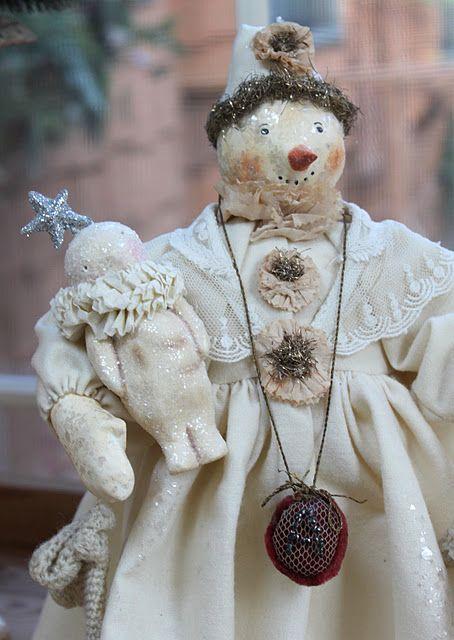 antiqued snowman