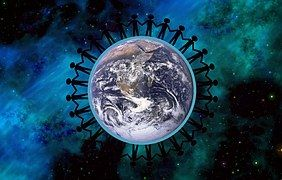 Erde, Frieden, zusammen, Symbol