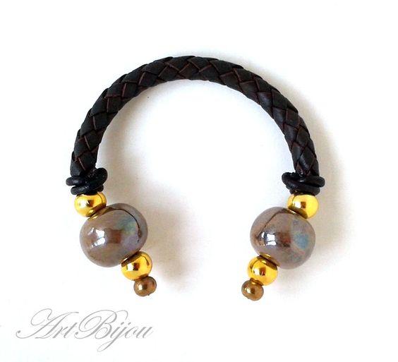 Armbänder - Brown Leather Bracelet, Ceramic Bracelet, Boho - ein Designerstück von ArtBijou bei DaWanda