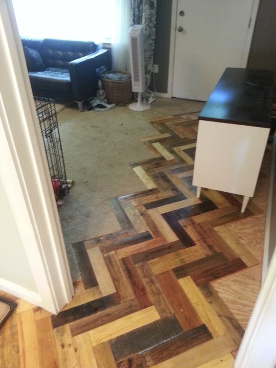 Pallet flooring technique.  Hmm... now to figure out where I can do this.