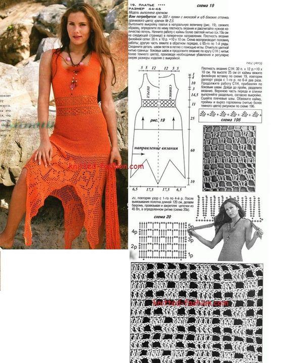 Филейное вязание крючком платьев схемы модели бесплатно