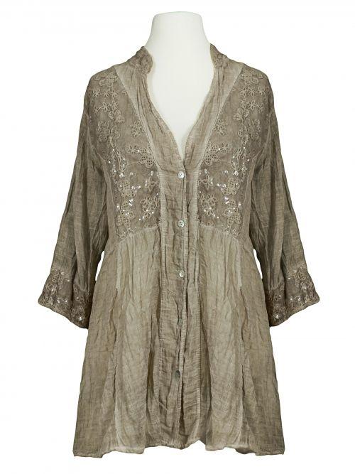 Damen Tunika Bluse mit Spitze, schlamm von Diana bei www.meinkleidchen.de