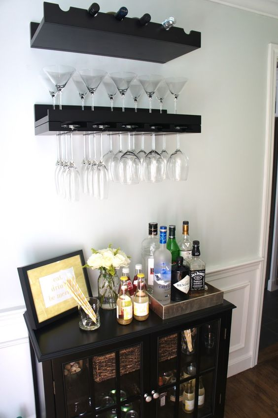 I mentioned in this post that I'm using an empty wall in our dining room to create a small bar area. I used the Threshold Windham Acce...