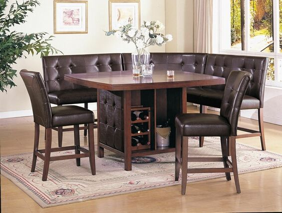 6 pc bravo collection espresso finish wood counter height dining table set with booth style. Black Bedroom Furniture Sets. Home Design Ideas