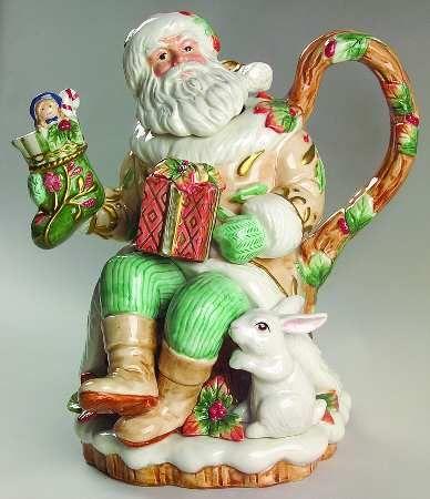 Fitz/Floyd Winter Wonderland Santa Teapot & Lid