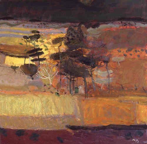 back ground for sunset sky, Sandy Murphy (Scottish artist) - Autumn Wood, oil painting.