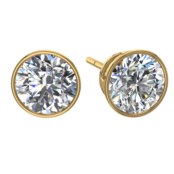 Boucles et clous d'oreilles, puces d'oreilles Diamants ronds 1 carat or jaune Alambra  #diamantsetcarats #OrJaune #Over500 #BagueDeFiancaille #SolitaireBagueDiamant #CamogliEmeraude #capucine #Solitaire4Griffes #bouclesd #PendentifDiamantElena