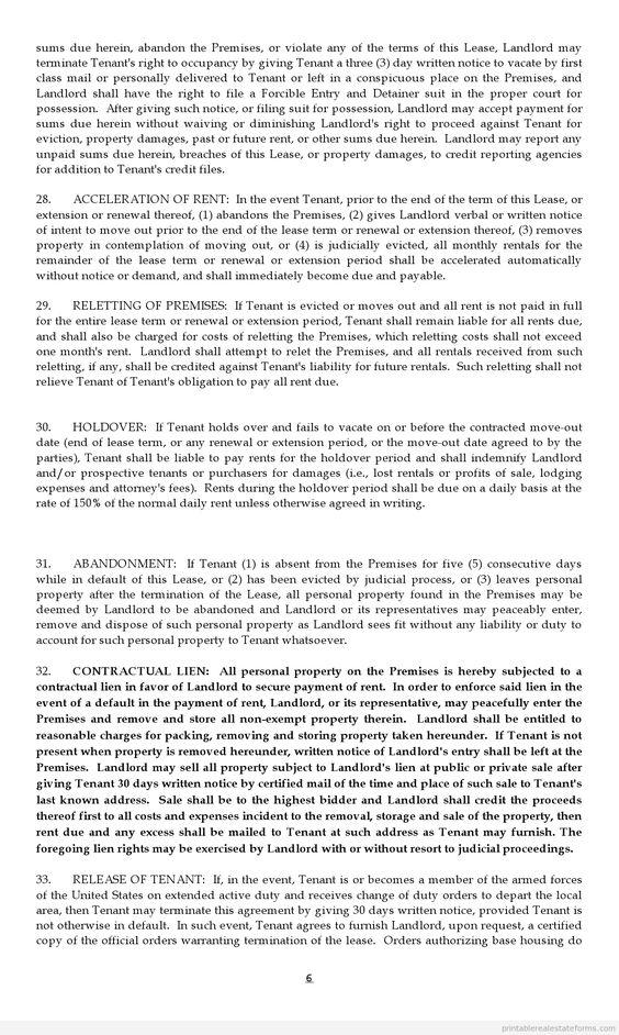 Sample Printable lease agreement Form – Sample Printable Lease Agreement