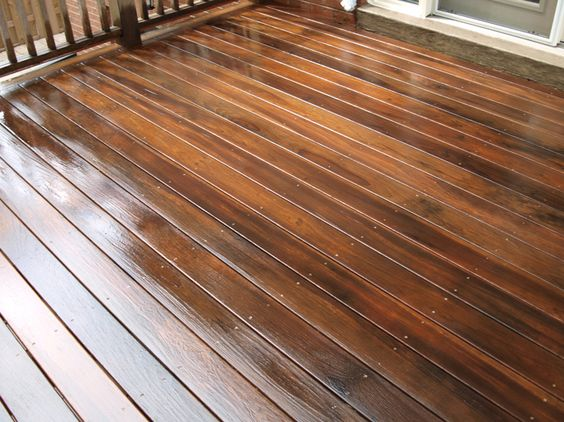 In the process of staining a deck with Benjamin Moores Arbourcoat stain.