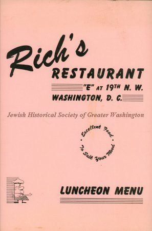 Front of luncheon menu for Rich's Restaurant at 19th and E Streets, NW, Washington, D.C.