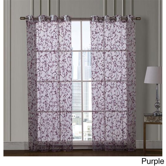 Vcny Ariana 84-inch Flocked Grommet Curtain Panel Pair