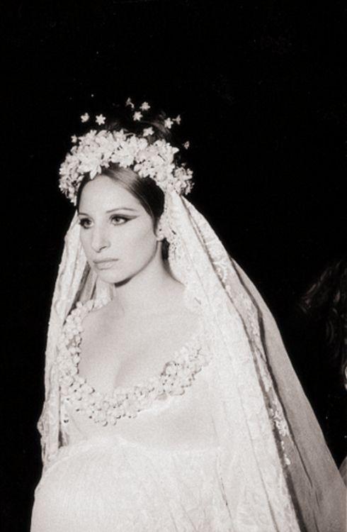barbara streisand wedding dress history of headpieces