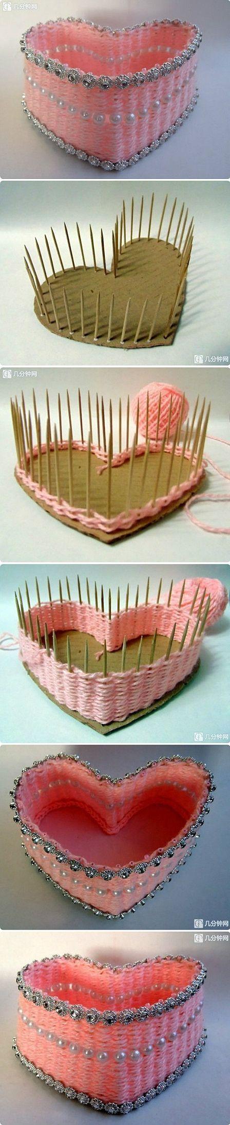 heart shaped box with yarn: