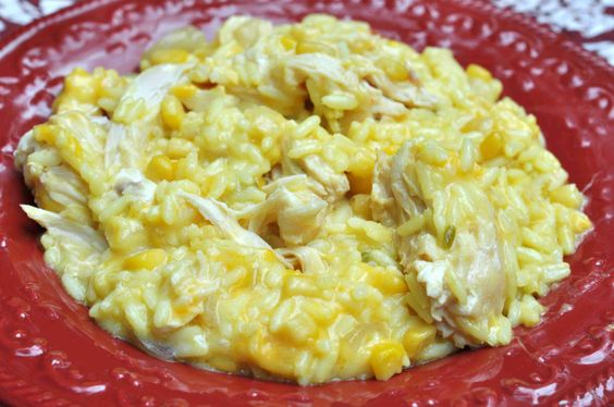 Cheesy Chicken and Rice in the Crock Pot