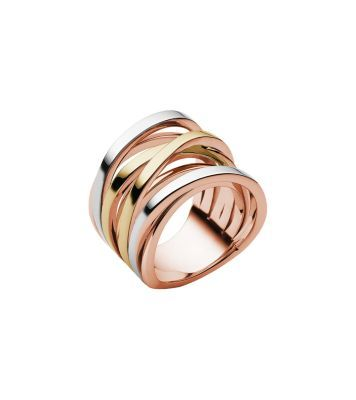 Intertwined in multiple metallic tones, this sculptural stacked ring is an artful addition to your jewelry collection. Its high-shine finish makes a statement solo or plays well with other polished pieces. Reach for it daily for an air of adornment.