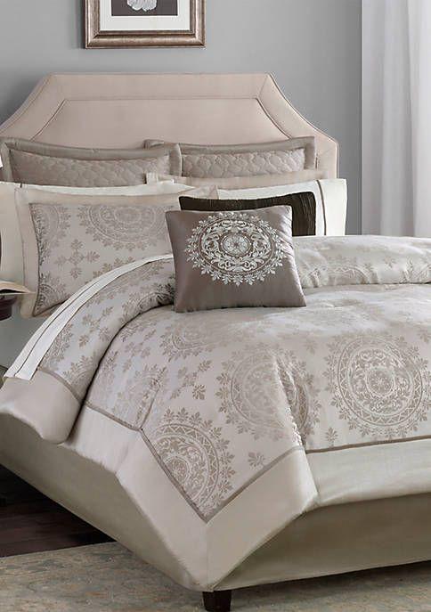 Madison Park Tiburon Tan 12 Piece California King Comforter Set 106 In X 92 In Comforter Sets Brown Duvet Covers Queen Comforter Sets