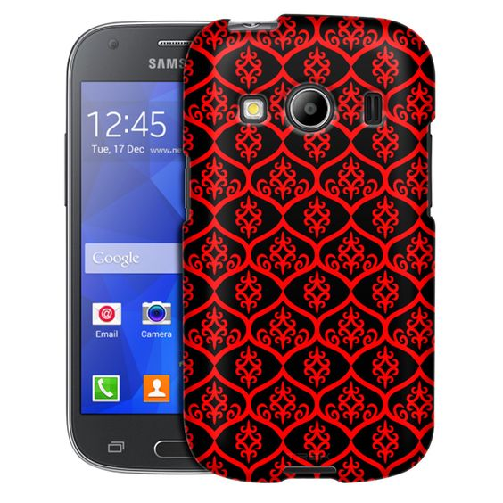 Samsung Galaxy Ace Style Victorian Tileable Red on Black Case