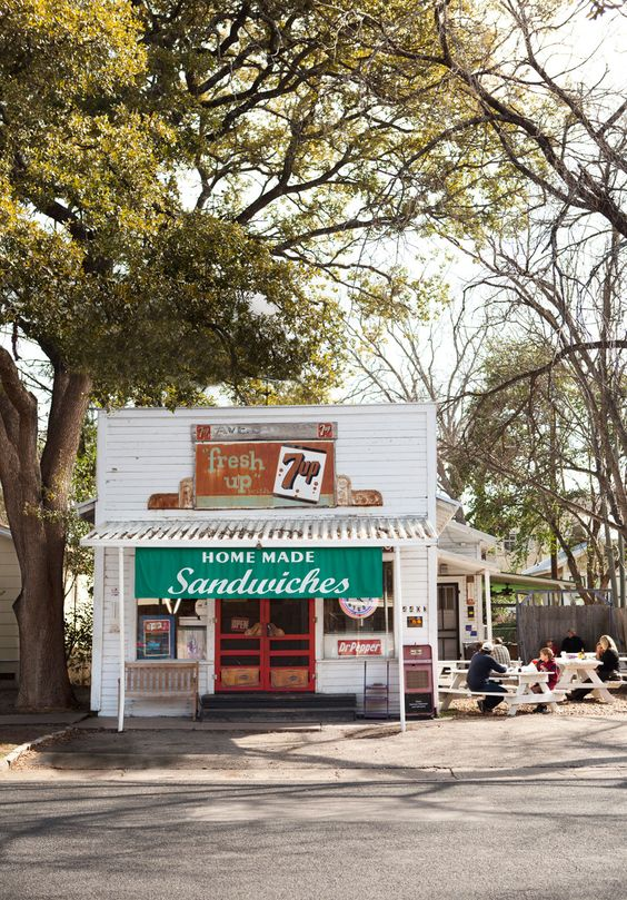 Avenue B Grocery--a neighborhood gathering place for more than a century--sits just a mile north of downtown #Austin, Texas.: Austin Texas Fashion, Austintexas, Best Sandwich, Sandwich Shops, Grocery Austin, Storefront, Austin Tx, Sandwich Shop Ideas, Coffee Shop