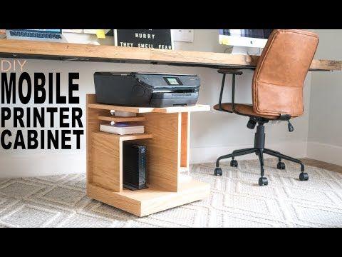Under Desk Printer Stand Youtube In 2020 Printer Stand Printer Cabinet Diy Mobile